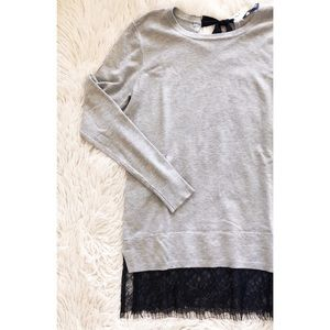BRIXTON IVY grey bow back long sleeve pull over